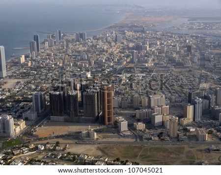 aerial view of dubai, a emirate within the United Arab Emirates