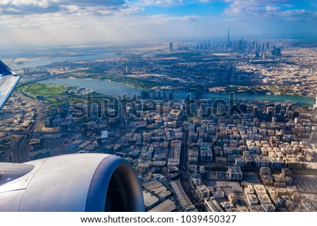 Aerial view of Dubai from airplane stock photo