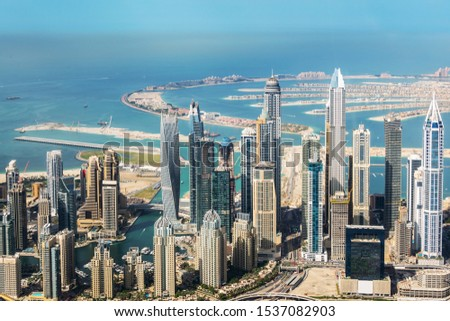 Aerial view of Dubai Marina skyline and Palm Jumeirah, United Arab Emirates stock photo