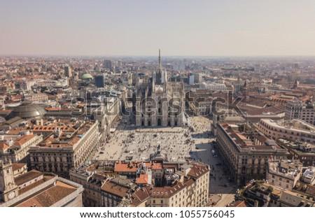 Aerial view of Duomo di Milano, Galleria Vittorio Emanuele II, Piazza del Duomo #1055756045