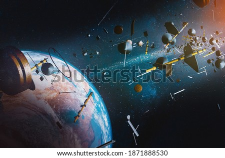 Aerial view of Earth surrounded by space junk from space ships and satellites; 3D; 3D Illustration