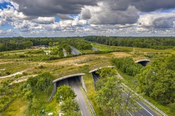 Aerial view of Ecoduct wildlife crossing at Dwingelderveld National Park, Beilen, Drenthe, The Netherlands