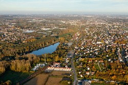 Aerial view of Egly, pond on the big island, Essonne department, Ile-de-France region, France