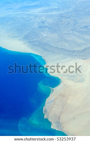 aerial view of egypt coastline