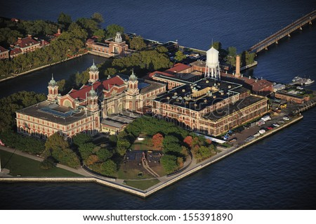 Aerial view of Ellis Island  New York