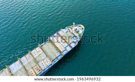 Aerial view of empty international containers cargo ship at industrial import-export port transport goods around world, global transportation and logistic business.Oversea international Business. ストックフォト ©
