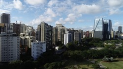 Aerial view of empty Marginal Pinheiros in São Paulo Brazil during the Corona Virus pandemic
