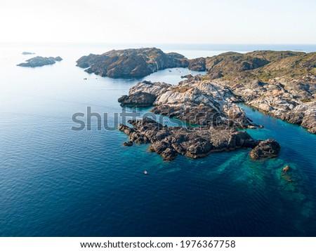 Aerial view of Encalladora and Massa d'Or island in Cap de Creus, Cadaqués, Spain Stock fotó ©