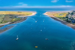 Aerial view of entrance to the  harbor seaport in Malahide, Dublin county, Ireland.Seascape of the irish coastline in  summer.