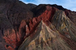 Aerial view of eroded landscape of La Puna highlands ecoregion of the Andes in Argentina, South America, America