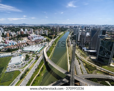 Aerial View of Estaiada Bridge and Skyscrapers in Sao Paulo, Brazil #370991036
