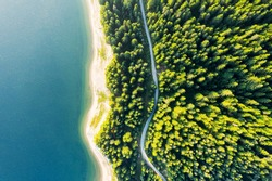Aerial view of evergreen trees, texture of the top of the tree on the shore of a mountain lake and a country road in the forest. Beautiful green spruce forest. Lake, pines aerial view