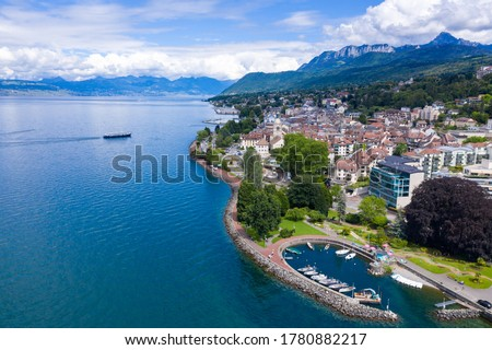 Aerial view of Evian (Evian-Les-Bains) city in Haute-Savoie in France Zdjęcia stock ©