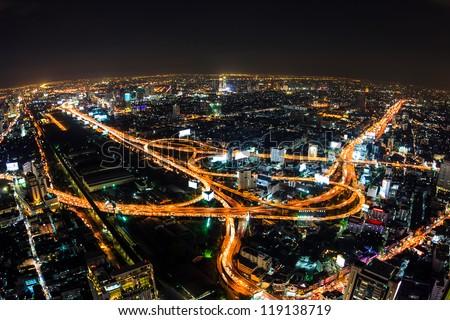aerial view of expressway in bangkok thailand