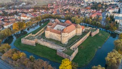 aerial view of Fagaras Fortress, Transylvania, Romania