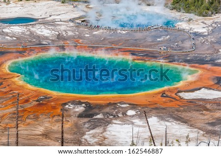 Aerial view of famous Grand Prismatic Spring in Yellowstone National Park.