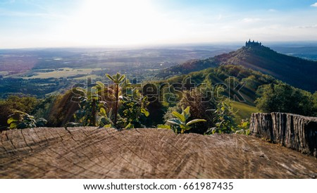 Aerial view of famous Hohenzollern Castle, Germany. Photo taken with Drone #661987435