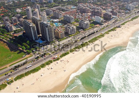Aerial view of famous resorts and beach in Rio De Janeiro
