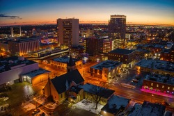 Aerial View of Fargo Skyline at Dusk