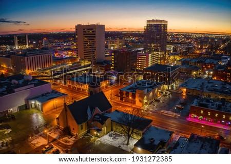 Aerial View of Fargo Skyline at Dusk Stock foto ©