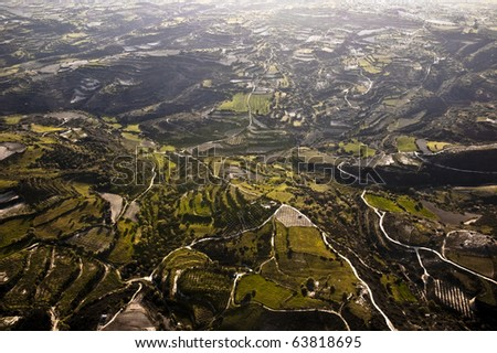Aerial view of farm fields, Cyprus