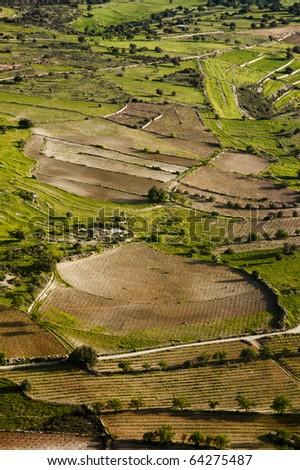 Aerial view of farm fields, Cyprus - stock photo