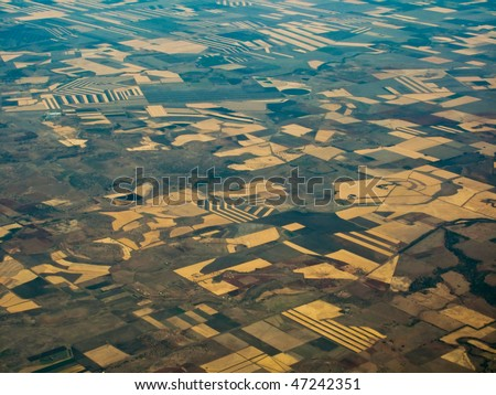 Aerial view of farm fields in Queensland, Australia Showing geometric patterns of individual crop areas