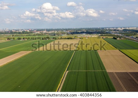 Aerial view of farm lands in Netherlands
