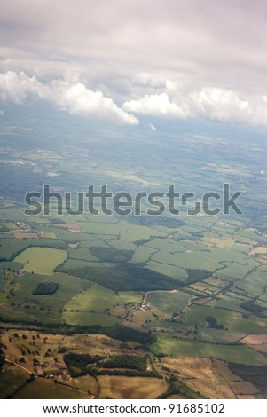 Aerial view of farmland area landscape from airplane. Photo taken near Stansted (London) airport