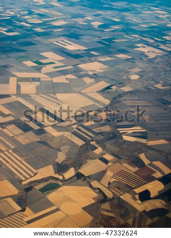 Aerial view of farmland in Queensland Australia showing pattern of crop areas