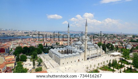 Aerial view of Fatih Mosque and Istanbul #734416267