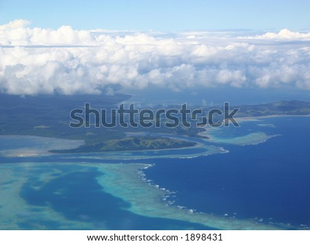Aerial view of Fiji tropical islands and reefs