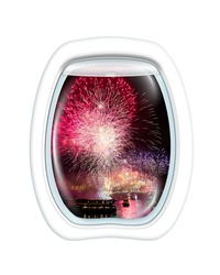 Aerial view of fireworks at Harbour Bridge in Sydney bay at midnight for the new years eve, on board of a plane through the porthole window. Copy space.