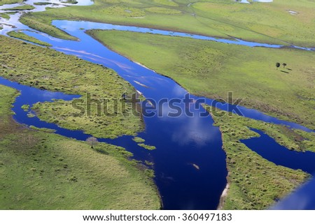 Aerial view of Fish Eating Creek in the Florida Everglades. #360497183