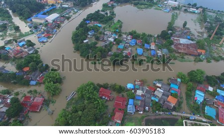 Aerial view of flood in Ayutthaya Province,Thailand. #603905183