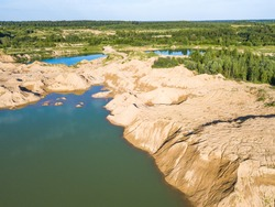 Aerial view of Flooded sand pit near Sychevo Volokolamsk district of Moscow region. Russia