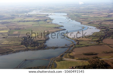aerial view of flooding in the Derwent Valley south of York, UK