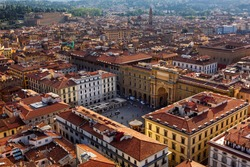 Aerial view of Florence and Piazza della Republica in Florence, Italy. Architecture and landmark of Florence.