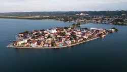 Aerial view of Flores, a small town in Guatemala