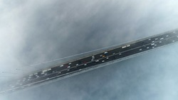 Aerial view of foggy  Istanbul Bosphorus Bridge. 4K Drone Footage in Turkey.