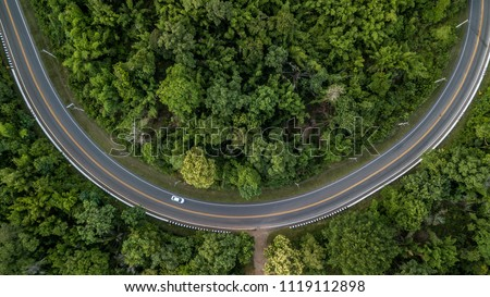Aerial view of forest road at South East Asia, Aerial view of a provincial road passing through a forest, Thailand. #1119112898