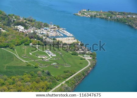 aerial view of Fort George in  Niagara on the Lake; Ontario, with Old Fort Niagara Youngstown, NY in the background
