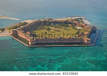 aerial view of Fort Jefferson in the Dry Tortugas National Park, Florida