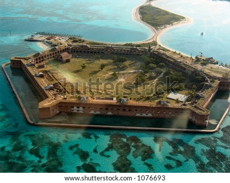 Aerial view of Fort Jefferson National Park at the Dry Tortugas, Florida
