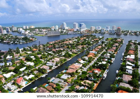 Aerial view of Fort Lauderdale Las Olas Isles, Florida, USA