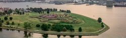 Aerial view of Fort McHenry in Baltimore birthplace of the star spangled banner