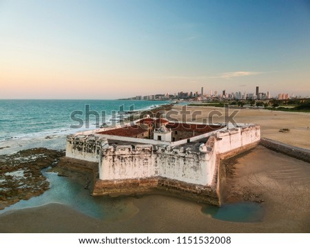 Aerial view of Forte dos Reis Magos (Fort) and skyline of Natal city on background Stock foto ©