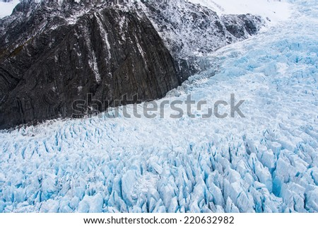Aerial view of Fox Glacier on the west coast of New Zealand