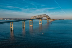 Aerial view of Francis Scott Key Bay Bridge over the Patapsco river near Baltimore Maryland
