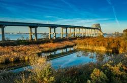 Aerial view of Francis Scott Key Bay Bridge over the Patapsco river near Baltimore Maryland